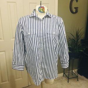 Lauren Ralph Lauren Navy/White Stripe Shirt Sz: L